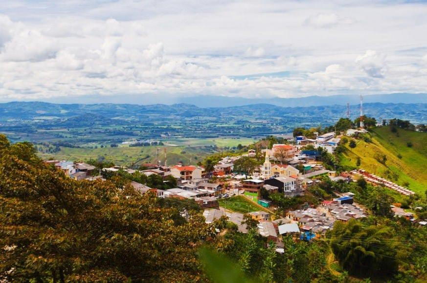 Vista panorámica de Buenavista, pueblo cerca de Salento, Quindío